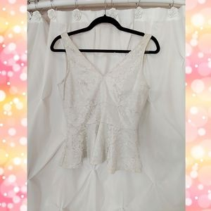 Lovely Day Tops - Lovely Day White Laced Peplum Top W/ Shiny Lining